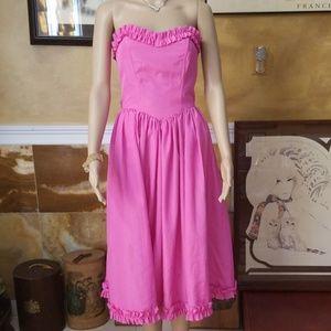 Dresses & Skirts - Vtg Handmade Hot Pink Sweetheart Dress
